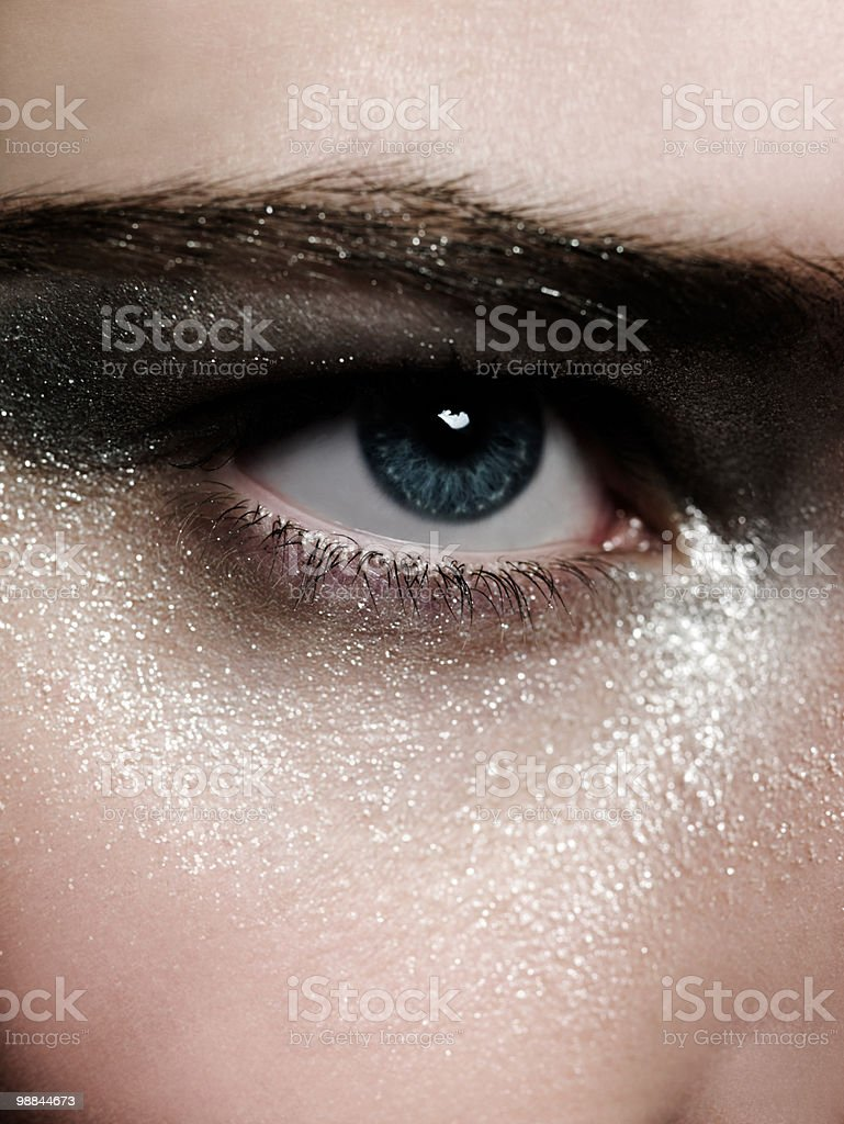 Female eye with silver make up royalty-free stock photo