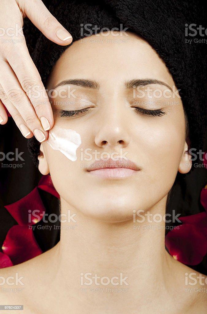 Female face cream care royalty-free stock photo