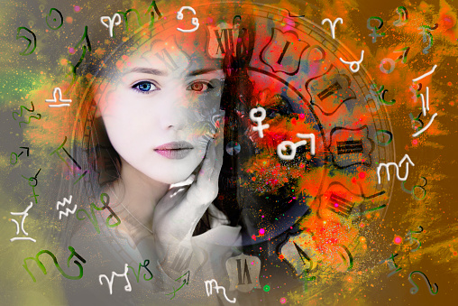 istock Female face, space and zodiac signs and planets symbols. 1193286062