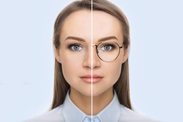 female face with glasses and without glasses - soczewka gałka oczna zdjęcia i obrazy z banku zdjęć