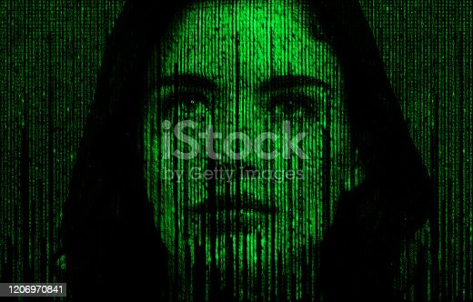 Female face with matrix digital numbers artifical intelligence AI theme with human face