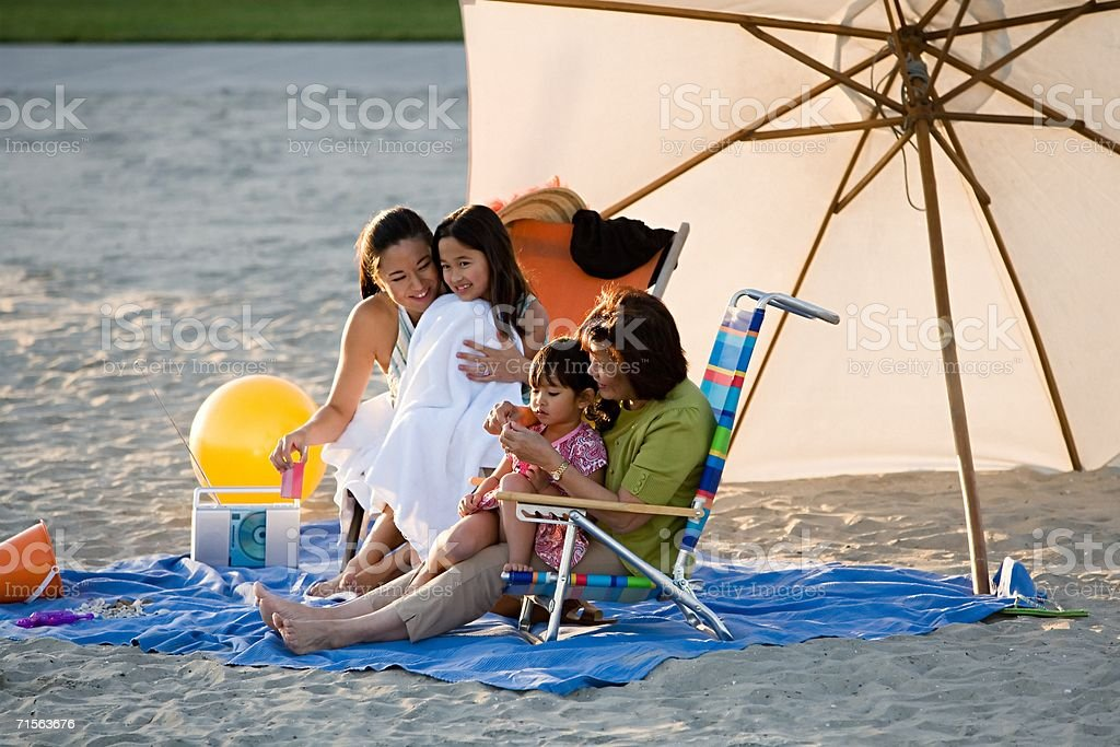 Female family at the beach royalty-free stock photo