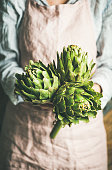 Female farmer wearing pastel linen apron and shirt holding fresh artichokes in her hands, selective focus, vertical composition. Organic produce or local market concept