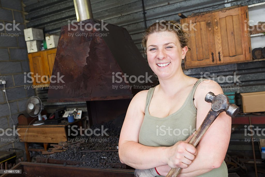 Female farrier royalty-free stock photo