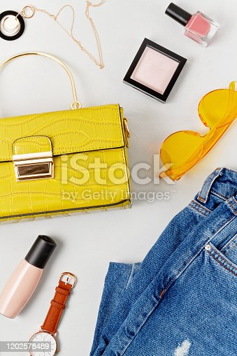 847905020 istock photo Female fashion accessories, makeup and handbag. Beauty blog, urban outfit and fashion trends concept 1202578489