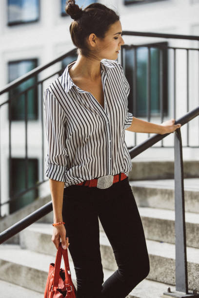 Female Fashion Blogger in Munich, Germany Female Fashion Blogger in Munich, Germany blouse stock pictures, royalty-free photos & images