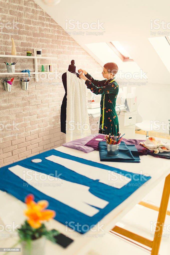 Female Fashion Designer In Her Workshop stock photo