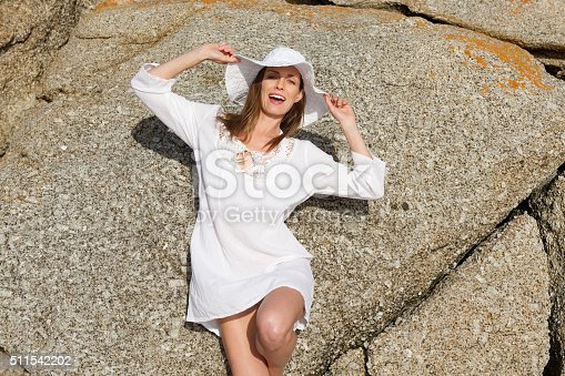 928358584 istock photo Female fashion model in summer dress and hat 511542202
