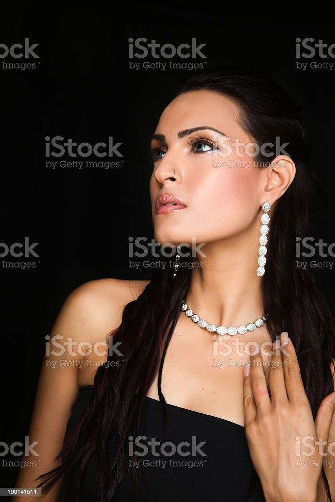 female fashion model wearing jewelery royalty-free stock photo