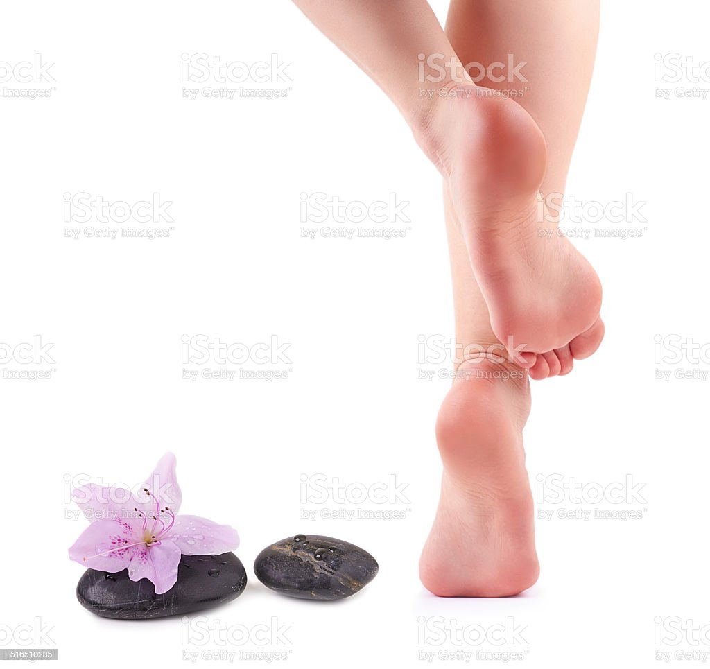 Female feet and Spa stones with spa flower stock photo