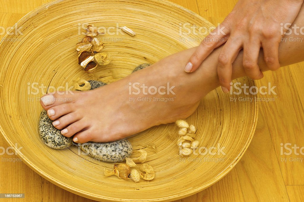 female feet on spa treatment royalty-free stock photo