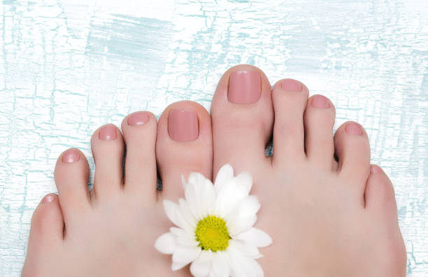 Female feet with nude pedicure. stock photo