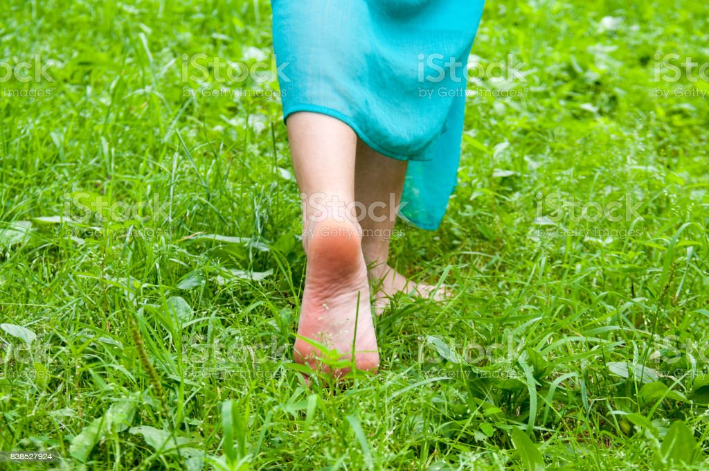 Female feet without shoes are walking on the grass stock photo