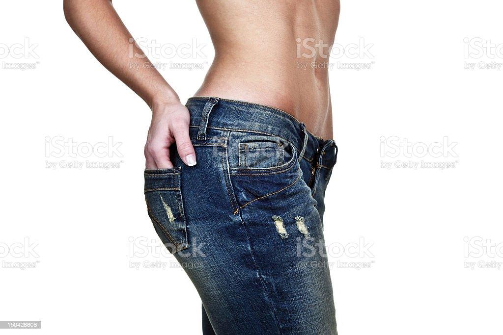 Female figure wearing jeans stock photo