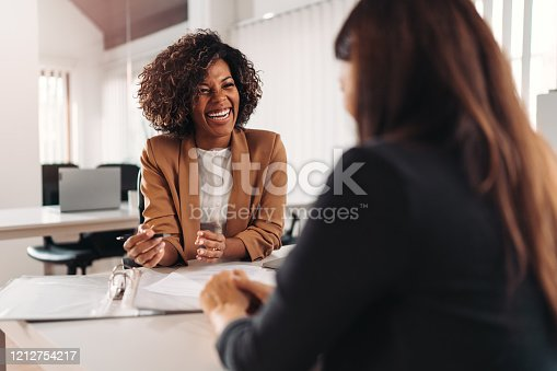 Female financial advisor consulting a client at the meeting and having business conversation or making offer