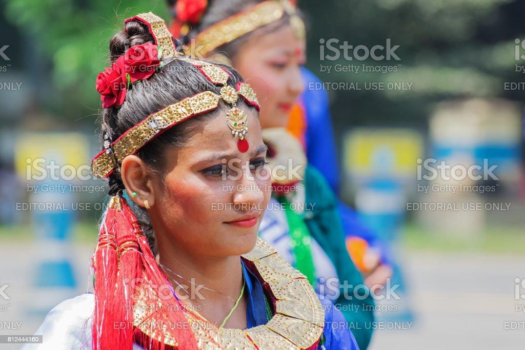 Female folk dancer in colorful make up stock photo