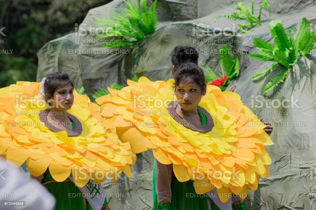 Female folk dancers in colorful make up stock photo