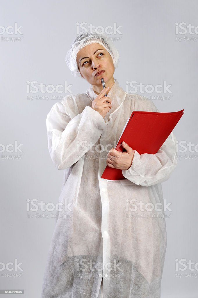 female food factory worker royalty-free stock photo