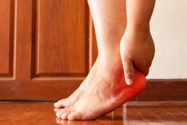 Female foot heel pain or plantar fasciitis. Health care concept. Female foot heel pain or plantar fasciitis. Health care concept. human foot stock pictures, royalty-free photos & images