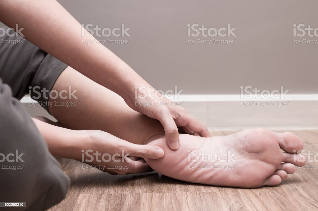 Female foot heel pain, plantar fasciitis stock photo