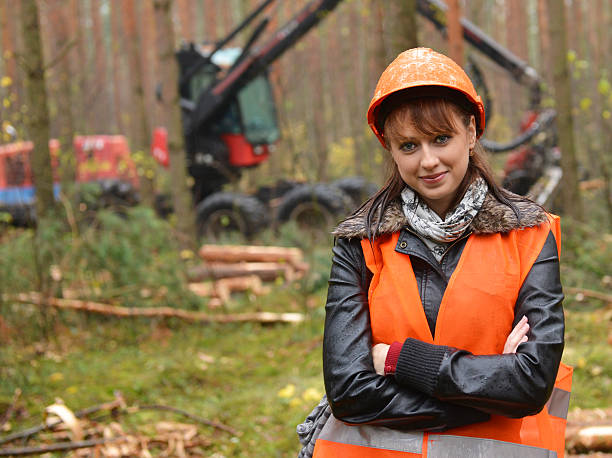 A female forestry worker at the job site Young and beautiful forestry engineer at work forester stock pictures, royalty-free photos & images