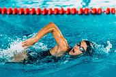 istock Female Frestyle Swimmer 487264370