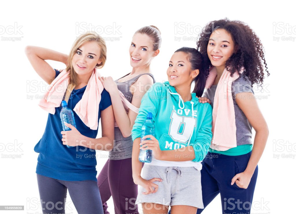 Female friends after fitness royalty-free stock photo