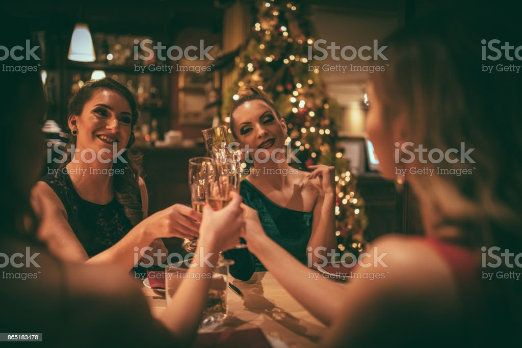 Female friends at the dinner party stock photo