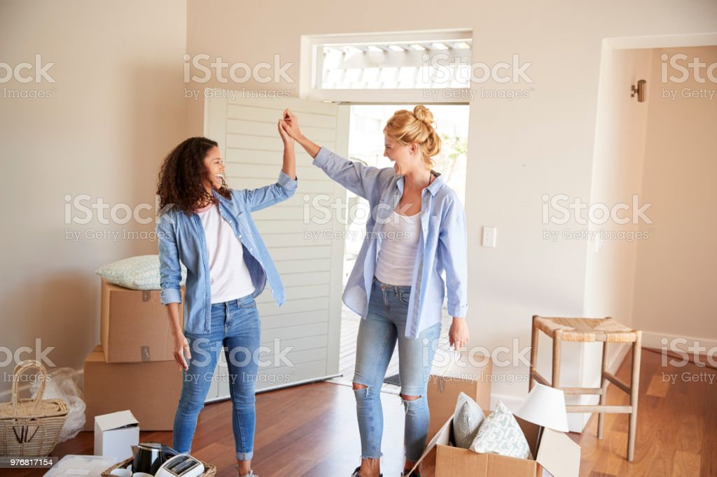Female Friends Celebrating In New Home On Moving Day stock photo