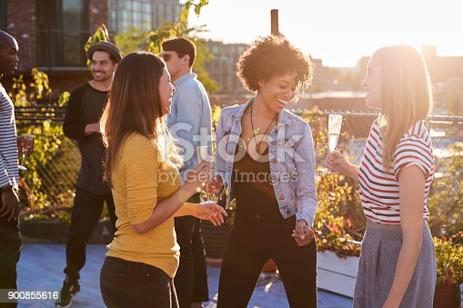 istock Female friends dancing and drinking at a rooftop party 900855616
