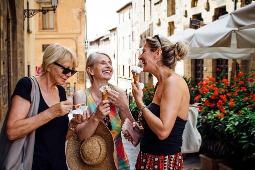 Female Friends Enjoying Italian Ice-Cream