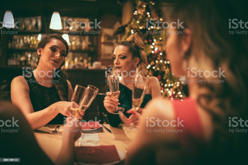 Female friends having dinner at the restaurant stock photo