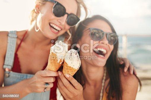 istock Female friends having fun and eating ice cream 540488002