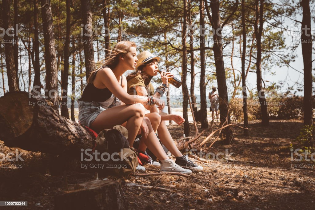 Female friends having picnic in the forest Outdoor shot of two young women having picnic in the forest, sitting on the fallen tree and drinking beer. Adolescence Stock Photo