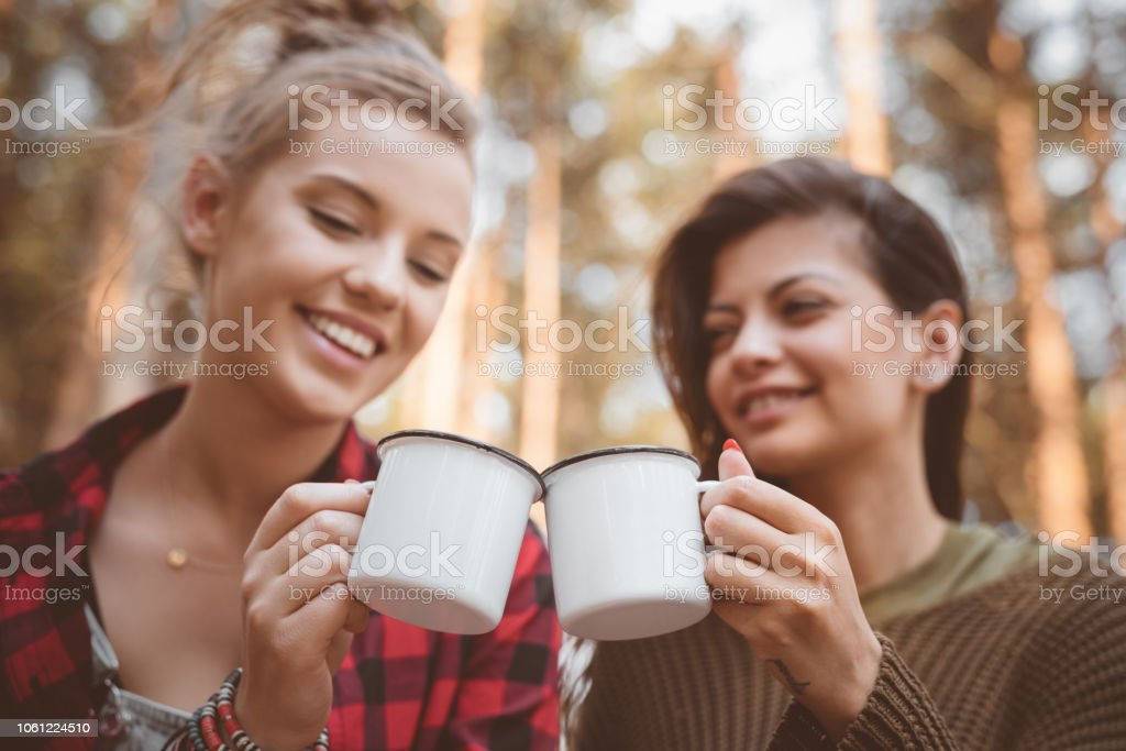 Female friends having picnic in the forest Outdoor shot of two young women having picnic in the forest. Close up of cups and faces. Adolescence Stock Photo