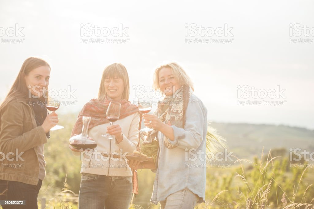 Female Friends Tasting and Drinking Red Wine in Vineyard royalty-free stock photo