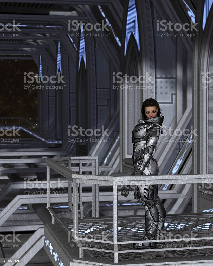 Female Future Soldier Standing Guard - science fiction illustration stock photo