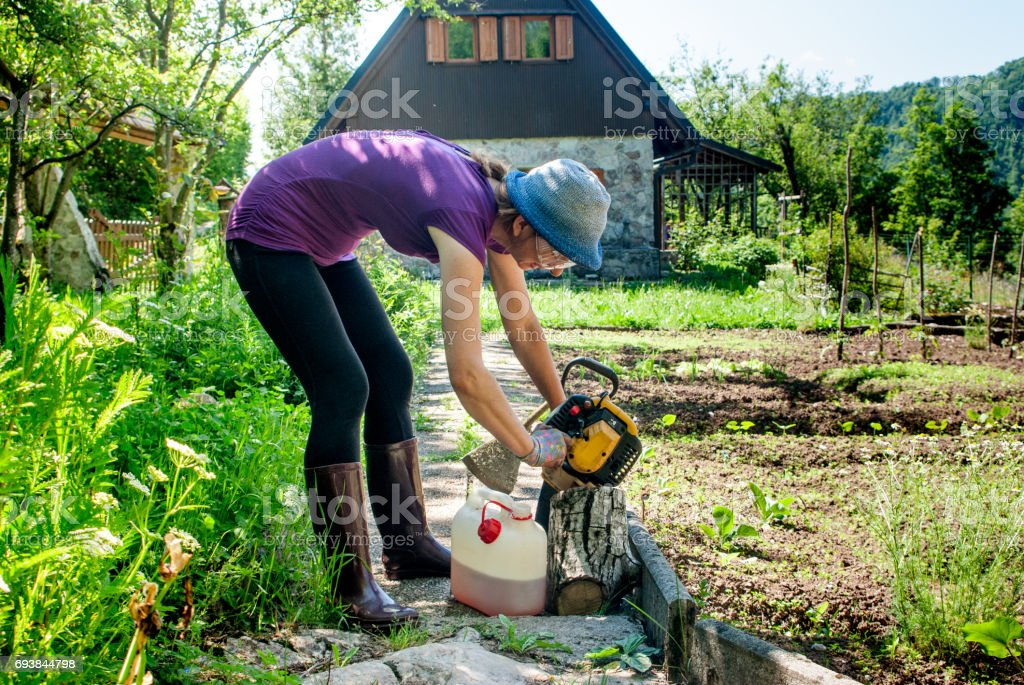 Female Gardener Cutting Grass With  Weed  Trimmer stock photo