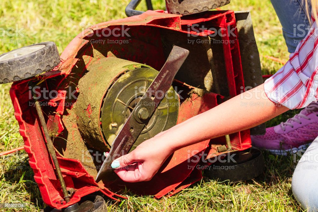 Female gardener with broken lawnmower stock photo