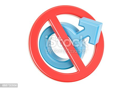 istock Female gender symbol with forbidden, prohibition sign. 3D rendering 688730556