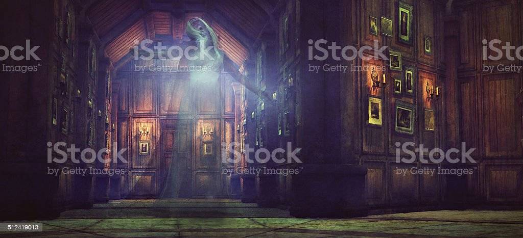 Female ghost appearance in scary old mansion corridor stock photo
