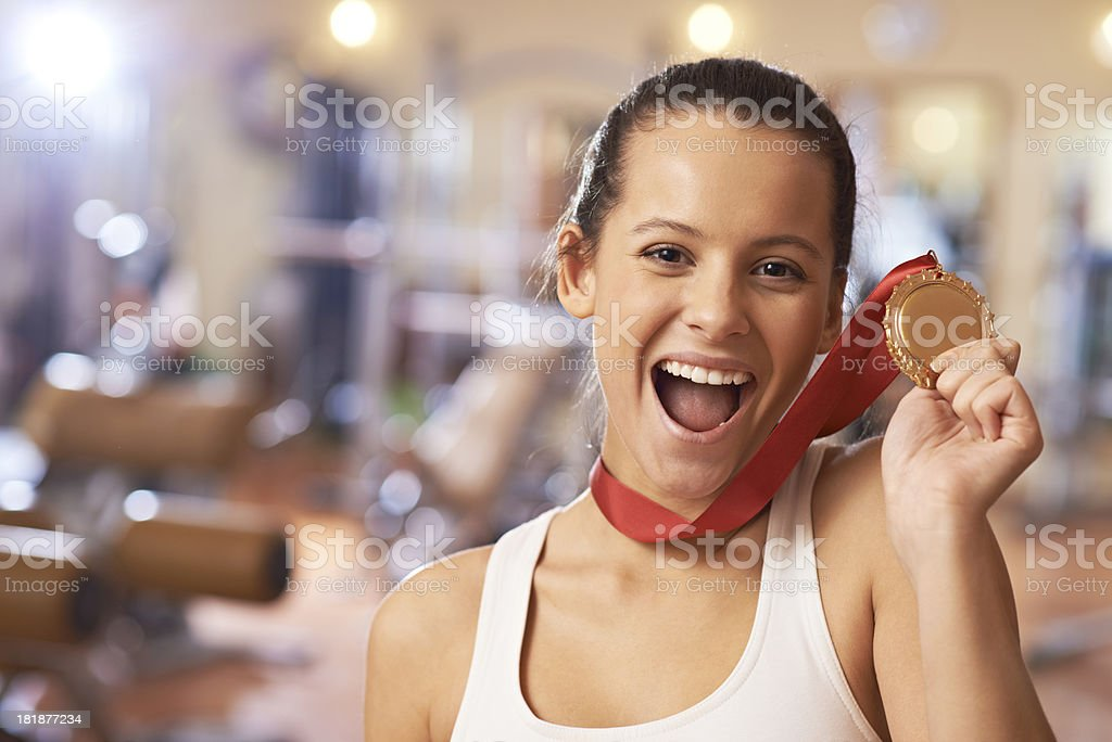 Female gold medalist royalty-free stock photo