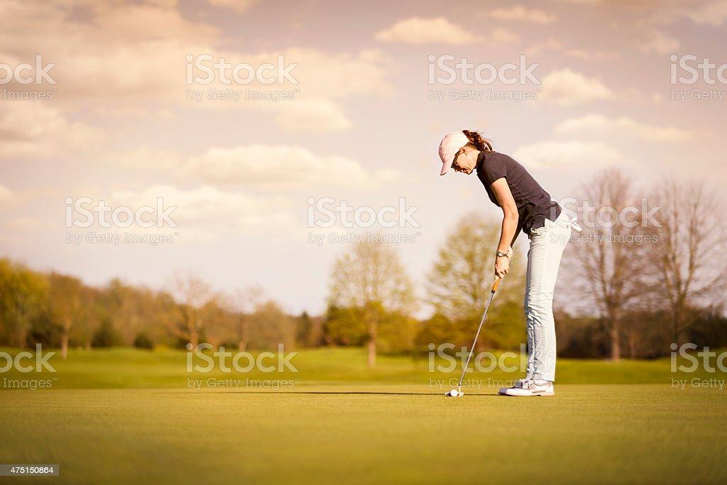 Joueur de golf féminin Avec copyspace. - Photo