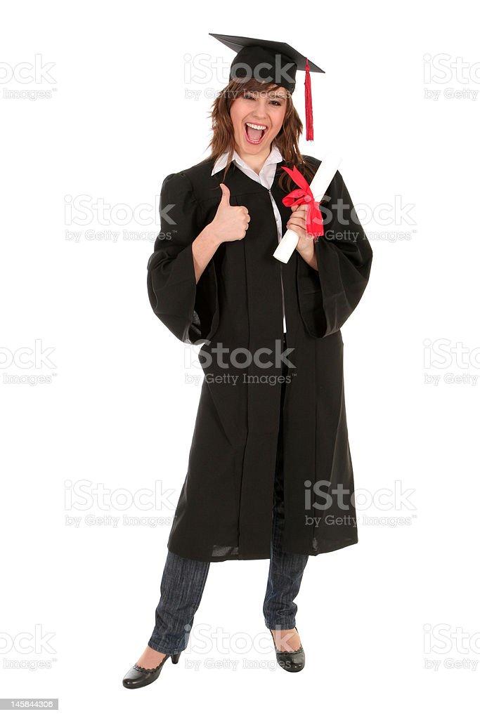 Female graduate holding a degree royalty-free stock photo