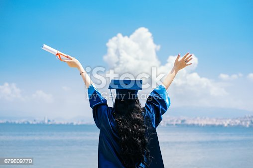 istock Female graduate student with arms raised 679609770