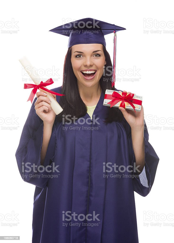 Female Graduate with Diploma and Stack of Gift Wrapped Hundreds stock photo