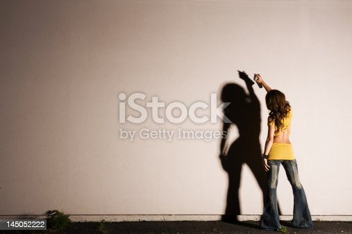 Female Graffiti Artist Silhouette