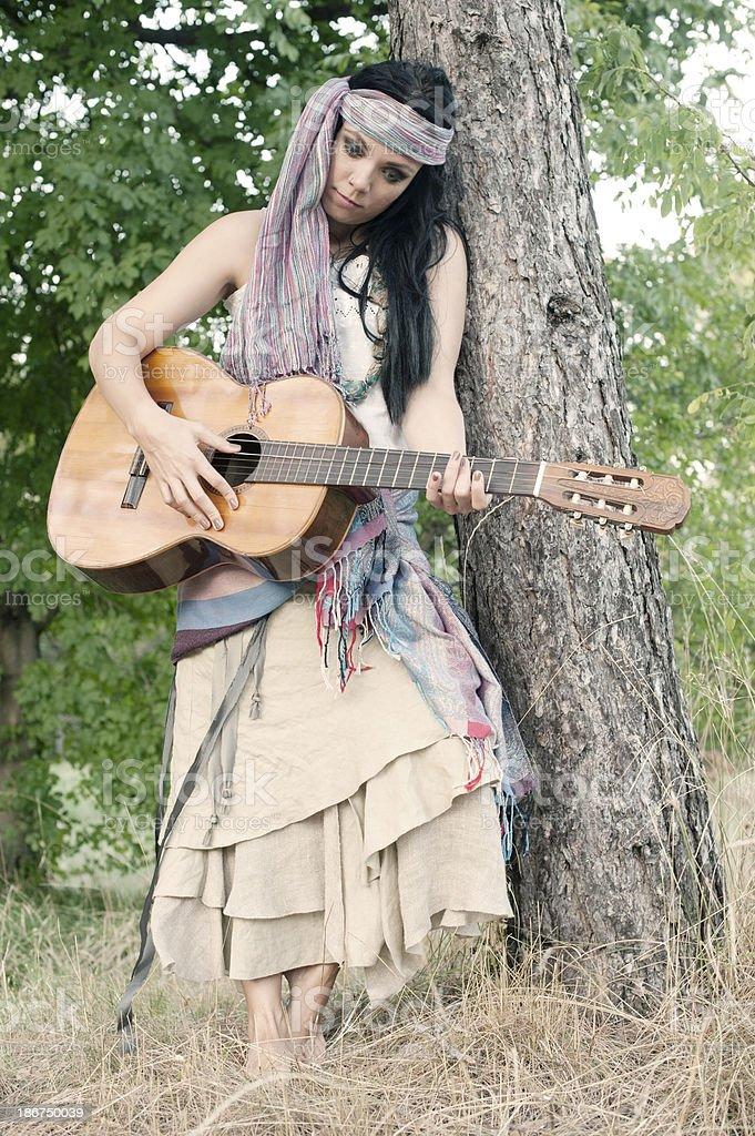 Female Gypsy Musician royalty-free stock photo