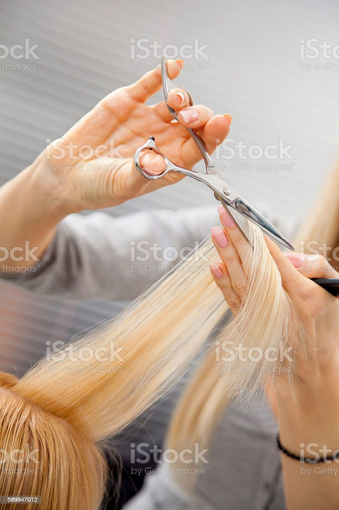 Female hairdresser cutting client's hair in beauty salon. stock photo