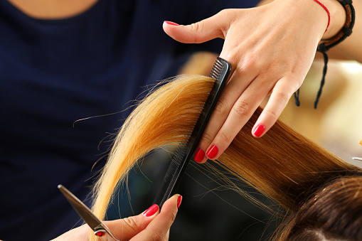 Female hairdresser hold in hand lock of blonde hair
